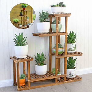 5-Tier-Fir-Wood-Plant-Stand-Decorative-Planter-Holder-Flower-Pot-Shelf-Rack-USA