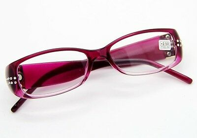 Women Reading Glasses Young Fashion Black Purple Crystal drill Pattern