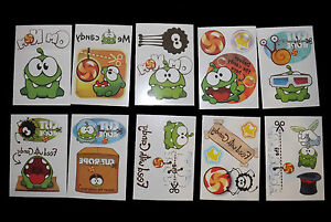 10-Books-CUT-THE-ROPE-Temporary-Tattoos-Appox-20-in-total-Non-Toxic-Tattoos