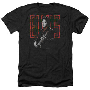 Elvis-Presley-RED-GUITARMAN-Licensed-Adult-Heather-T-Shirt-All-Sizes