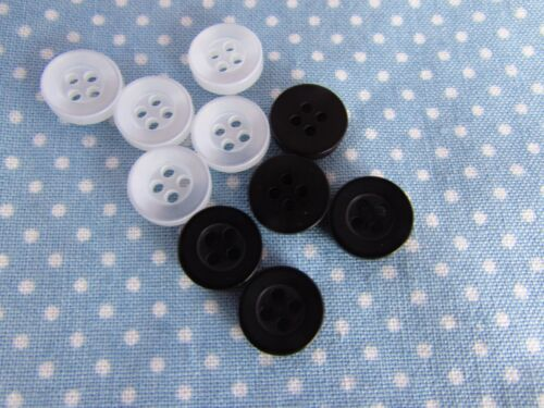 Pack 10 10mm 4 Hole Shirt Button in Black or White
