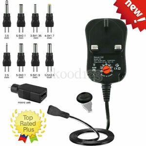 Adjustable AC to DC Multi Voltage Power Supply Adapter 3V 4.5V 5V 6V 7.5V 9V 12V