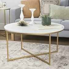 Faux White Marble//Gold 32 Walker Edison AZF32SSQCTMGD WE Furniture Coffee Table