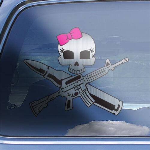 Womens ar-15 rifle target shooting skull sticker Girls AR15 Crossbones Decal