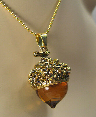 AMBAR GLASS ACORN NECKLACE PENDANT ANTIQUE GOLD WITH LONG CHAIN (Z29)