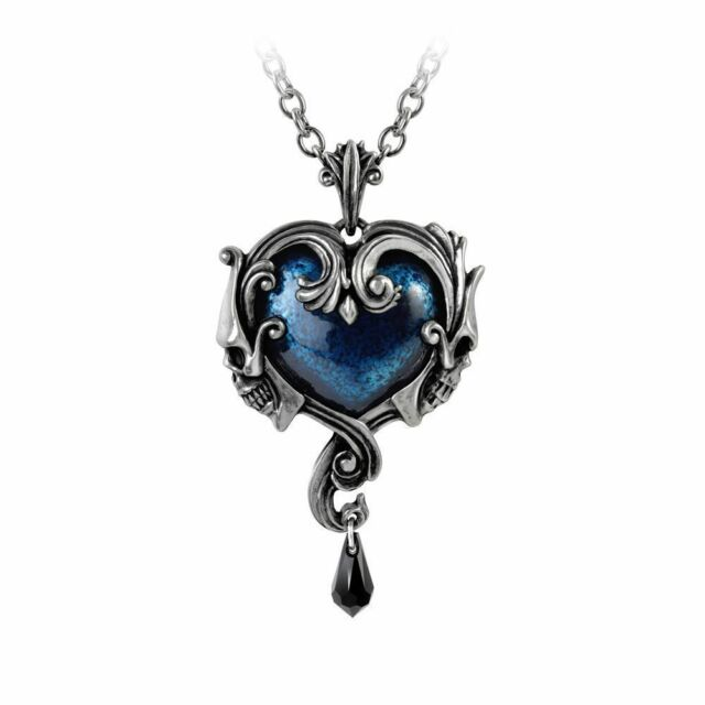 STUNNING ALCHEMY GOTHIC ~ Affaire Du Coeur ~ SKULL & HEART PEWTER PENDANT