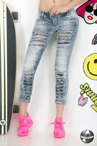 Damenjeans Jeans Hose Damenhose Röhrenjeans Hüftjeans Röhrenhose XS M #O97