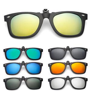 Matte-Polarized-Lens-Glare-Block-Clip-on-Glasses-Flip-Up-Sunglasses-Black