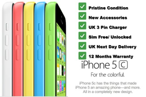 1 of 1 - Genuine Apple iPhone 5C 16GB Unlocked Factory Sim Free Smartphone Various Colour