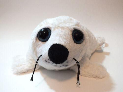 White Baby Seal Stuffed Animal Plush Big Blue Eyes Ocean Zoo Sealife Toy