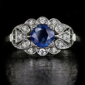 VINTAGE-COCKTAIL-NATURAL-CORNFLOWER-BLUE-SAPPHIRE-DIAMONDS-ART-DECO-RING-FLOWER