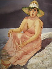 Original Watercolor Painting of a Woman at the Beach in an Orange Dress and Hat