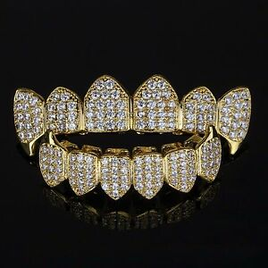18K-Gold-Plated-High-Quality-CZ-Top-Fang-amp-Bottom-Fang-GRILLZ-Mouth-Teeth-Grills