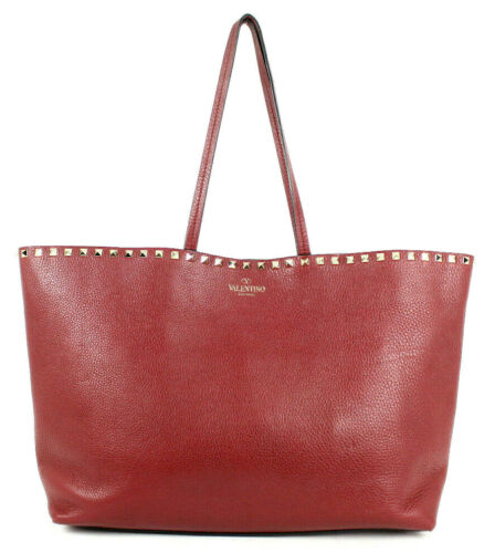 VALENTINO $1,345 Brick Red Pebbled Calfskin ROCKST