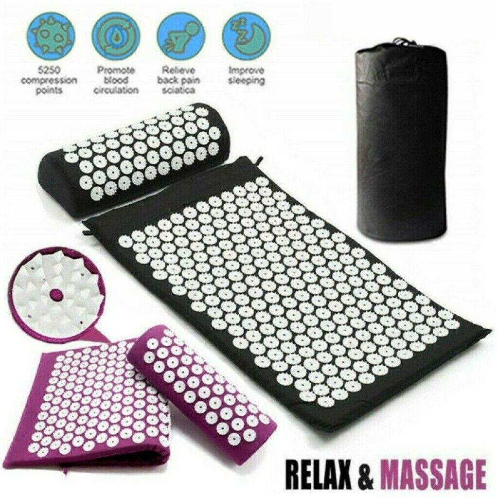 Akupressurmatte+Kopfkissen Massagematte Schnittschmerz Akupunktur Yoga-Matte 20*