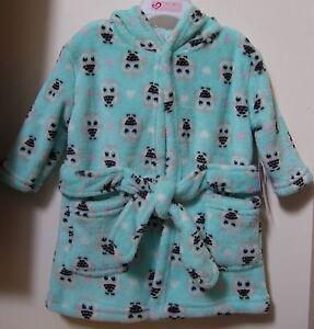 Girls Baby Kiss Plush Luxe Very Soft Owl Hearts Bath Robe 0-9M NWT