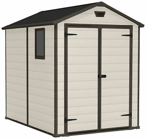Keter Manor Apex Lockable Doors Plastic Shed - Choice of Size.