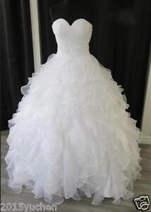 Image Is Loading Plus Size White Ivory Ruffles Bridal Gowns Wedding