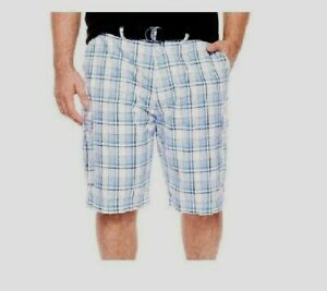 NEW-The-Foundry-Men-039-s-Big-Tall-Belted-Cargo-Shorts-Plaid-size-46