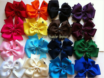 "5"" Boutique Big Pinwheel Girls Baby Hair Bows/Hairbow With Alligator Clip Ribbon"