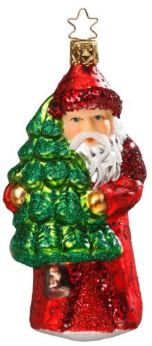 "/""Nikolaus Prepares/"" Santa Glass Ornament w// box by Inge Glas of Germany #108"