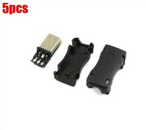 5Pcs-Connector-Mini-Usb-Male-Plug-Plastic-Shell-Solder-For-Cable-Type-B-Ic-bc