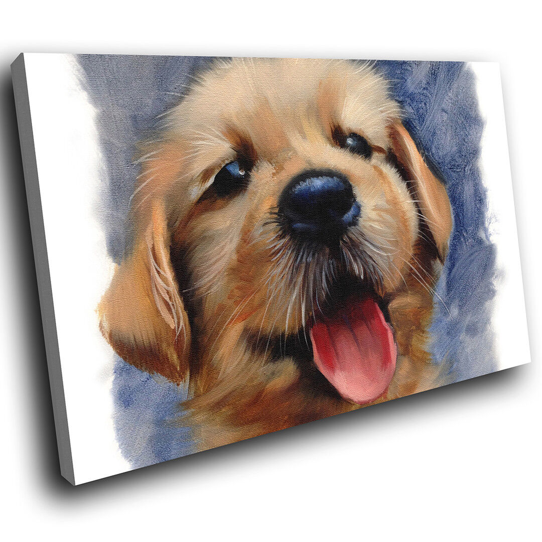 A665 braun Puppy Watercolour Funky Animal Canvas Wall Art Large Picture Prints