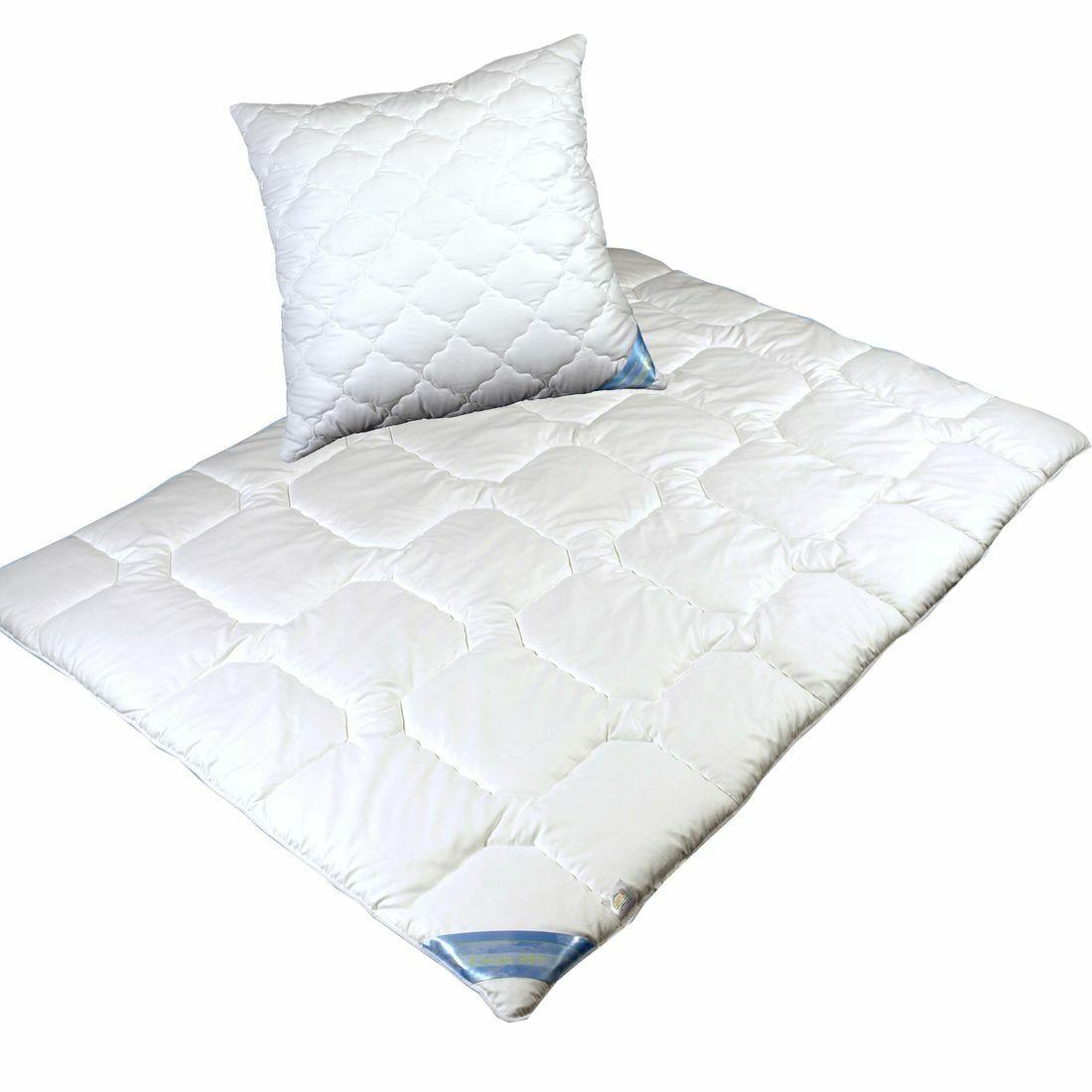 Garanta-SET Leichtes Steppbett Bettdecke in 3 Größen und Kopfkissen 80x80 Clean