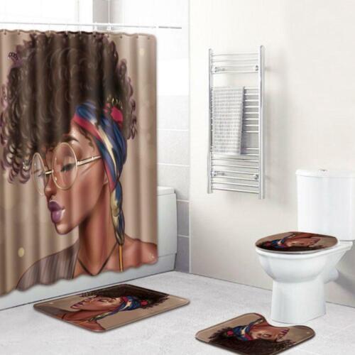 4Pcs//Set Carpet Bathroom  African Woman Bath Mat and Shower Curtain Set