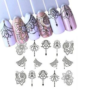 Nail-Art-Water-Decals-Stickers-Transfers-Tribal-Necklace-Gems-Flowers-Lace-S778