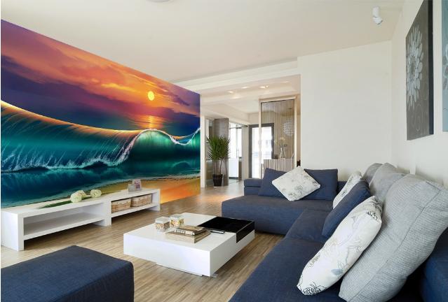 3D Wave Sunset 469 Wallpaper Murals Wall Print Wallpaper Mural AJ WALL AU Lemon