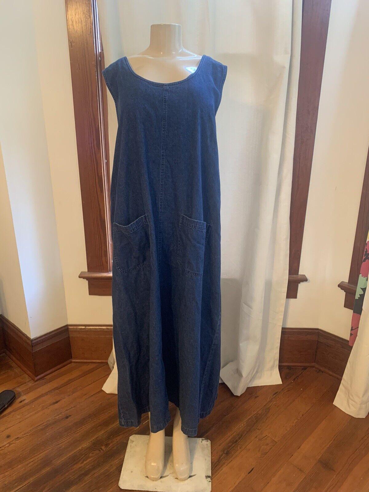 Vtg 90s Denim Jean Jumper Apron Maxi Dress Sz 3X … - image 1