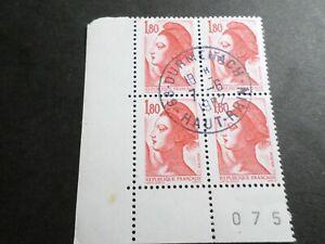 FRANCE BLOC timbres 2220 LIBERTE' DELACROIX, oblitéré 1982 cachet rond, QUARTINA
