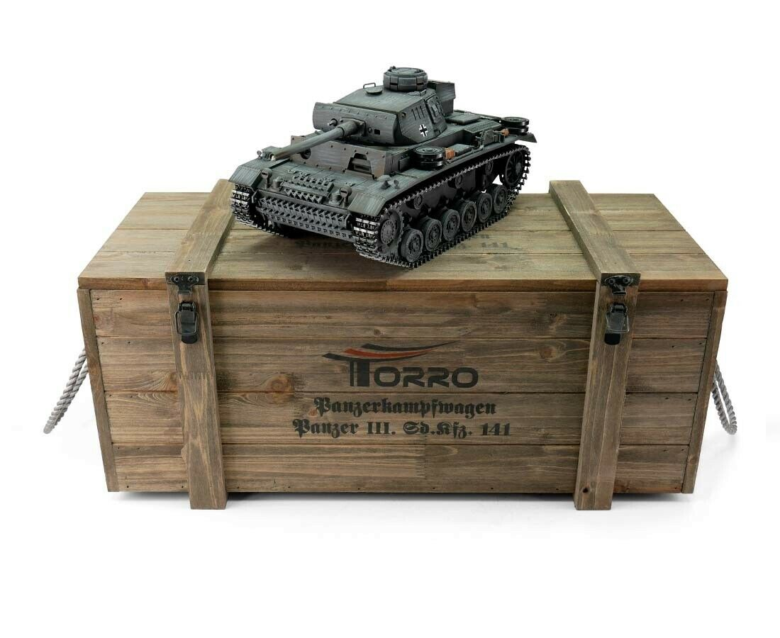 1 16 Torro German Panzer III RC Tank 2.4GHz Airsoft Metal Edition PRO grigio