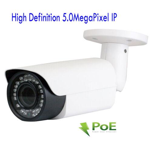 5MP PoE IP Security Camera NVR 2.8-12mm Varifocal Lens Weatherproof 42IR OSD 6DX