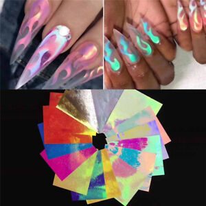 Details about 16Pcs Holographic Fire Flame Hollow Stickers Fires Stickers  Manicure Nail Art
