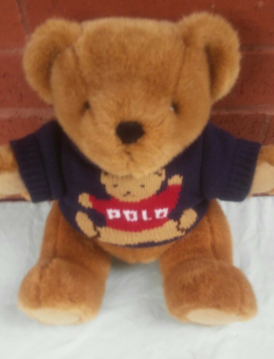 Ralph Lauren Polo Teddy Bear Plush Sweater 1997 Stuffed Jointed Legs