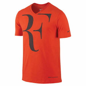 2af854e4eb New Nike RF Roger Federer SS V-Neck Tee Shirt 646559-891 Team Orange ...