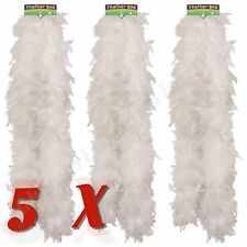 5x White Feather Boa Burlesque Hen Night Halloween Showgirl Wholesale Job Lot