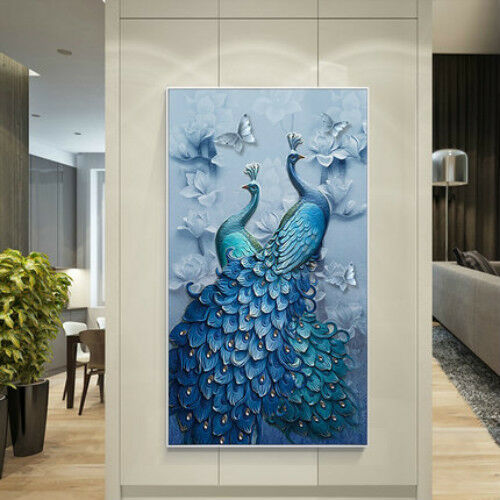 DIY Diamond Painting 5D Diamond Embroidered Blue Peacock Cross Stitch by Numbers