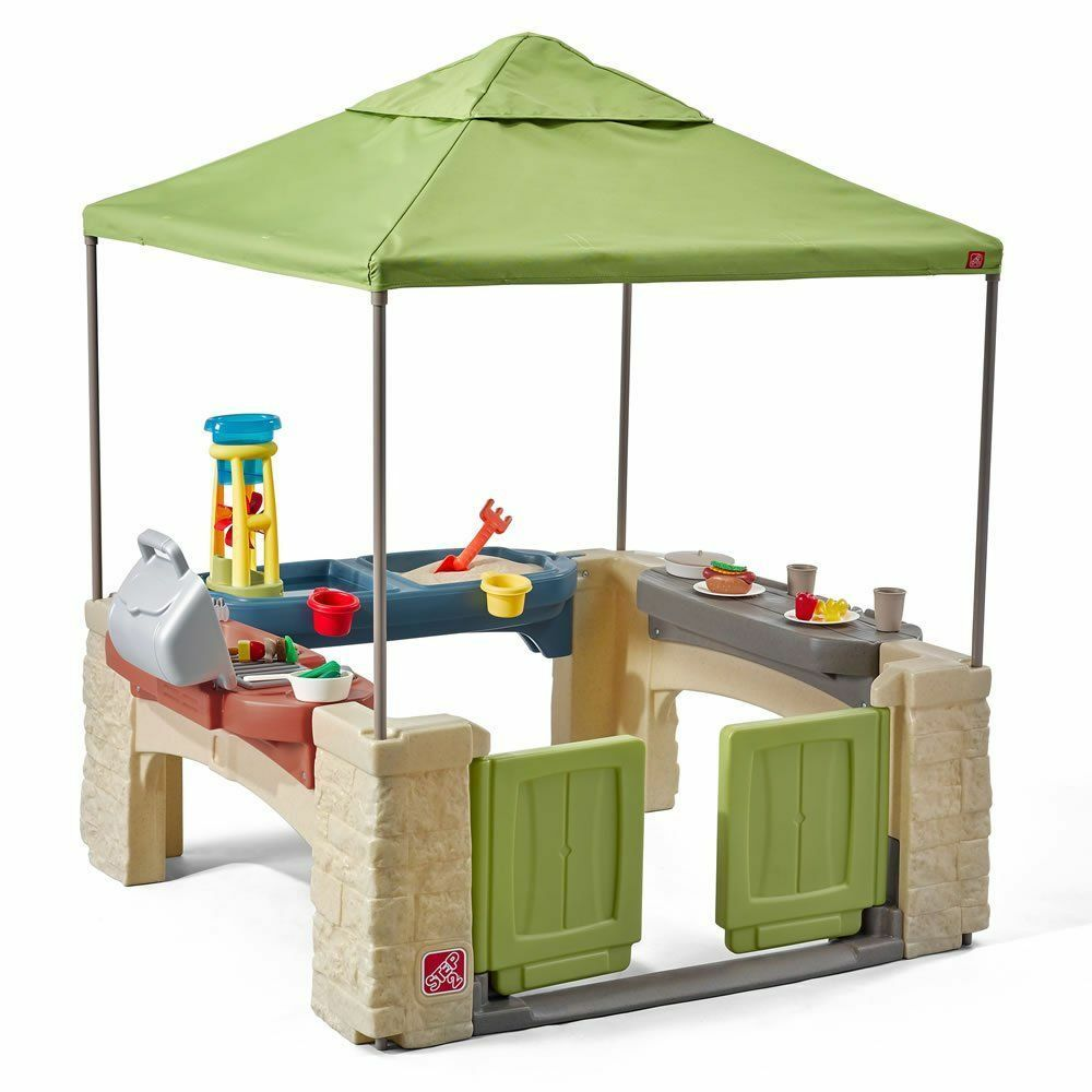 Outdoor Outdoor Outdoor Playhouse Outside Patio Kids Canopy Toddler Pavilion Kitchen Grill Toys 219d53