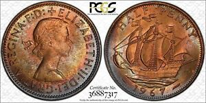 1967-GREAT-BRITAIN-HALF-1-2-034-PENNY-034-PCGS-MS64RB-BU-TONED-ONLY-2-GRADED-HIGHER