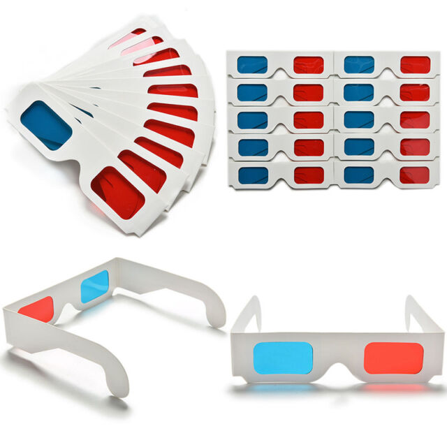 10pcs/lot Anaglyph Cardboard Paper Red Blue Cyan 3D Glasses For Movie OD