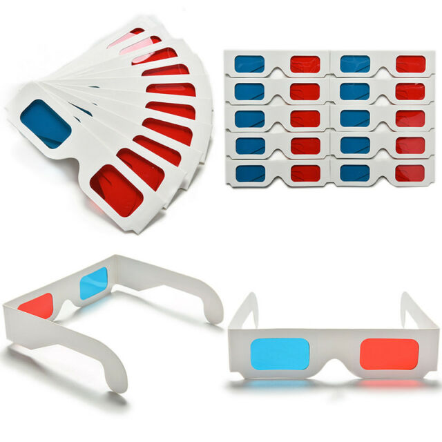 10pcs Universal Anaglyph Cardboard Paper Red Blue Cyan 3D Glasses For Movie FU