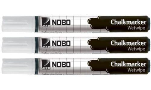 3x nobo Kreidemarker nass abwischbar weiß Kreidestift Kreidemaler Flüssigkreide