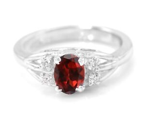 925-Sterling-Silver-Ring-with-Natural-Red-Garnet-Gemstone-Size-4-5-6-7-8-9-10-11