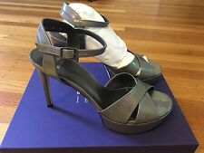 Stuart Weitzman Nexus Lead Petrol Patent Open Toe Leather Platform Sandal  Sz  8