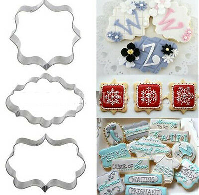 3Pcs Plaque Cutter Cookies Frame Cake Oval Square Rectangle Fancy Cookie Mold HG