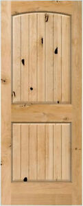 2 panel arch top knotty alder raised v groove solid core - Solid wood raised panel interior doors ...