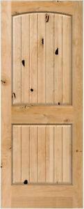 2 panel arch top knotty alder raised v groove solid core - Knotty alder interior doors sale ...